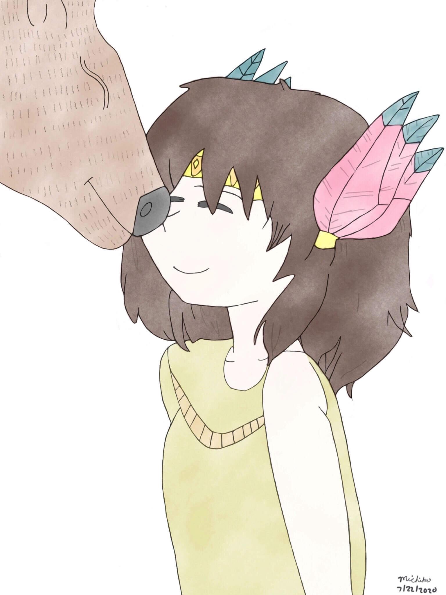 Tribal girl and her bear