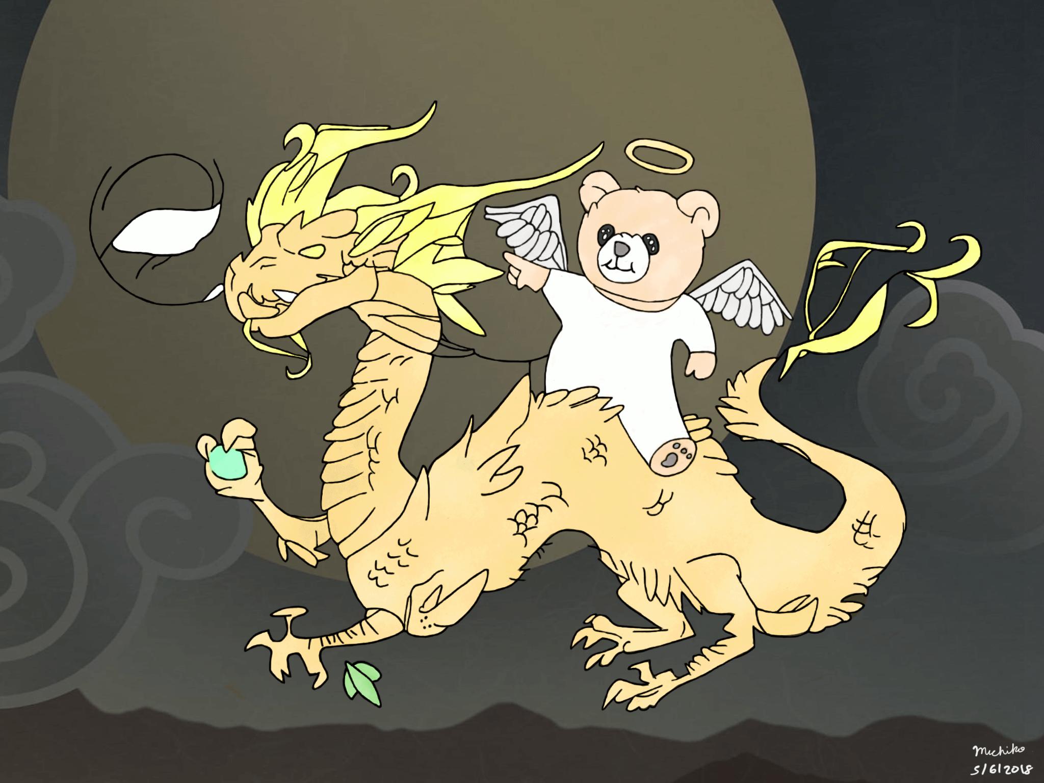 Junior teddy bear riding on a dragon