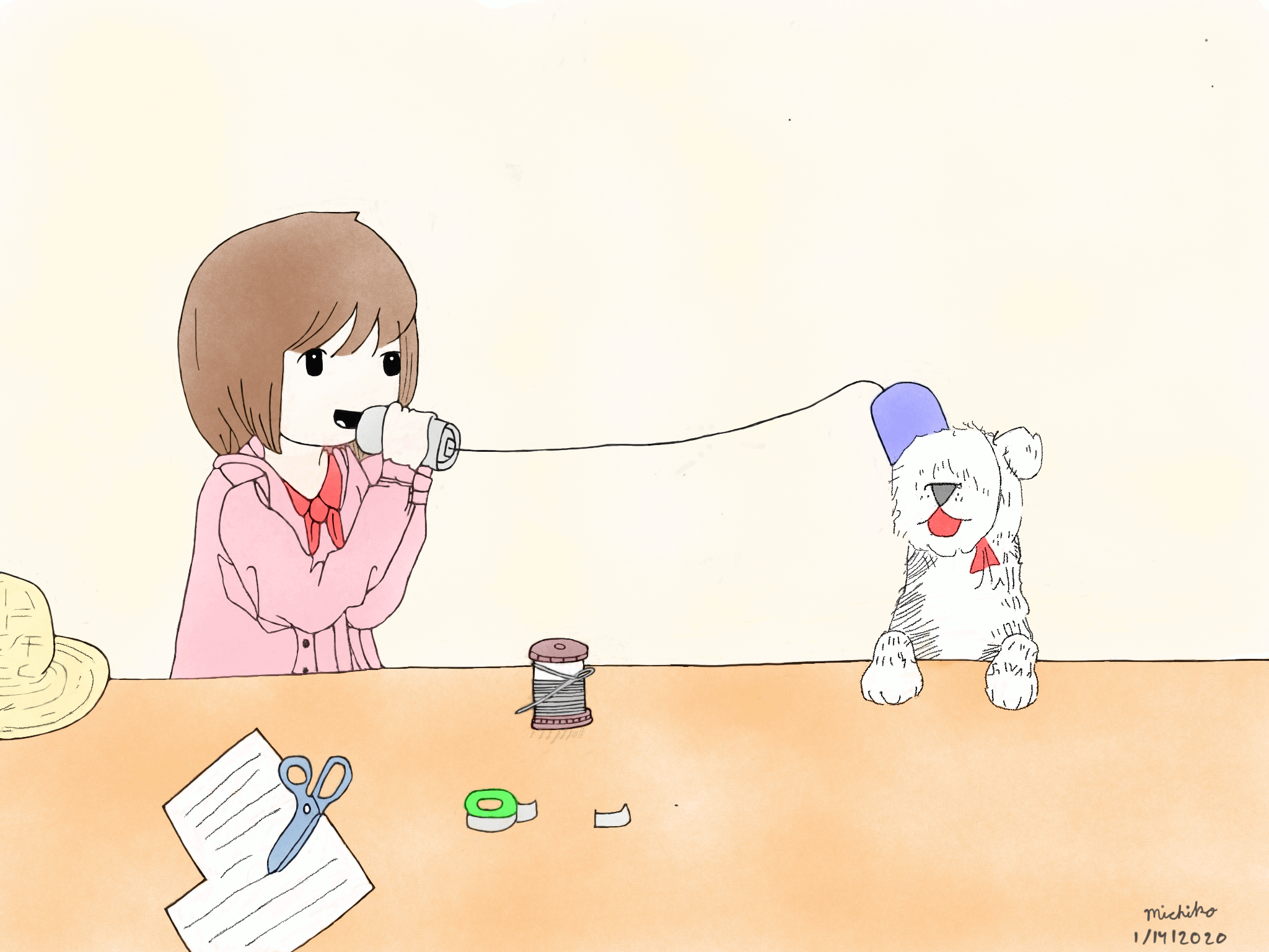 Girl and puppy with make believe phone