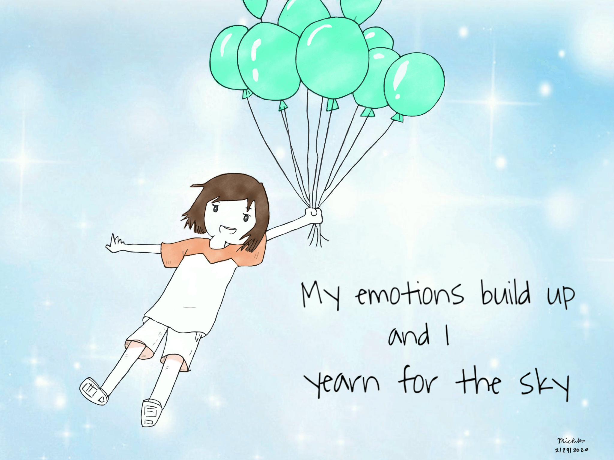 Flying in the sky with balloons