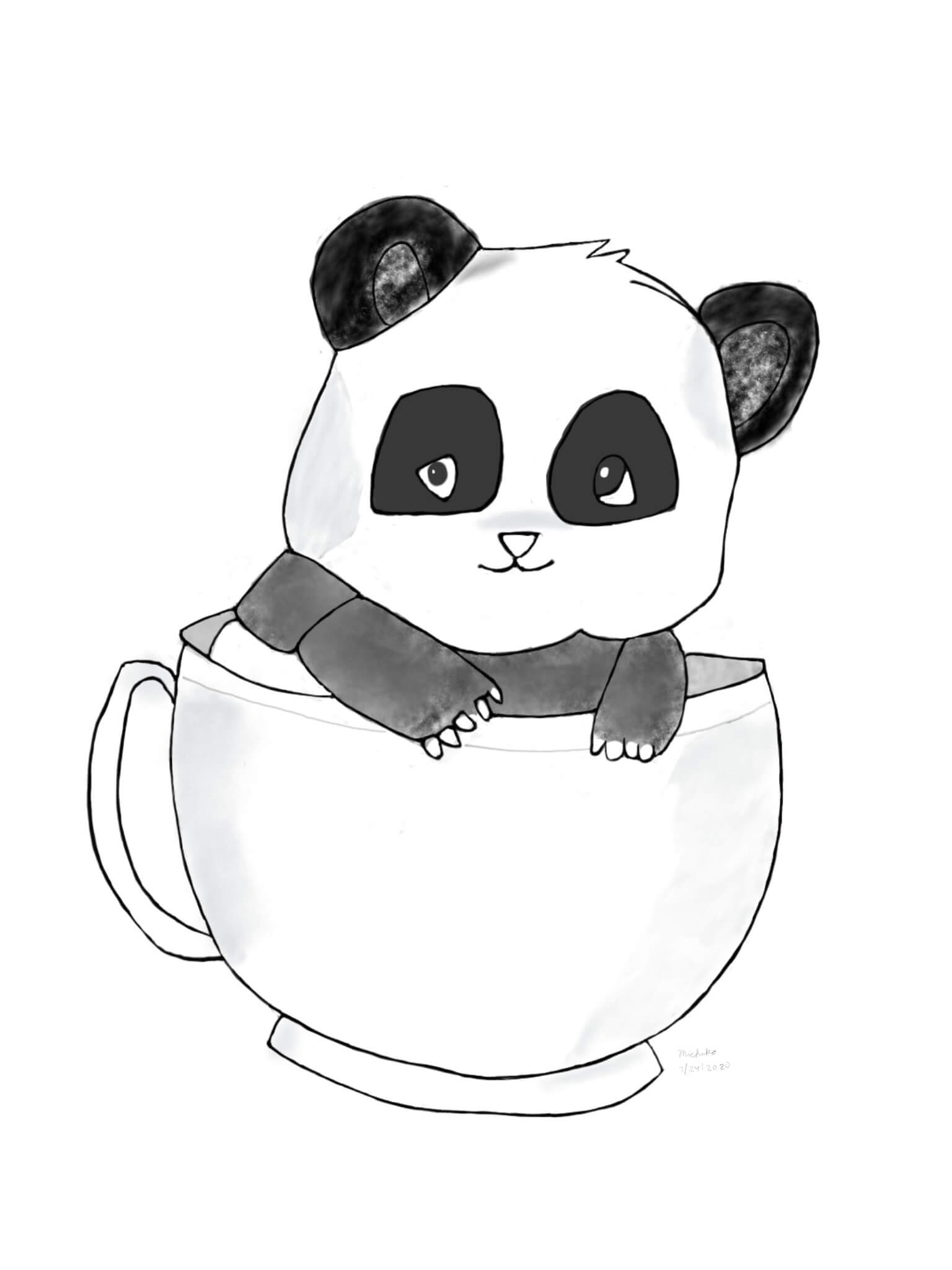 Sketch of panda in tea cup