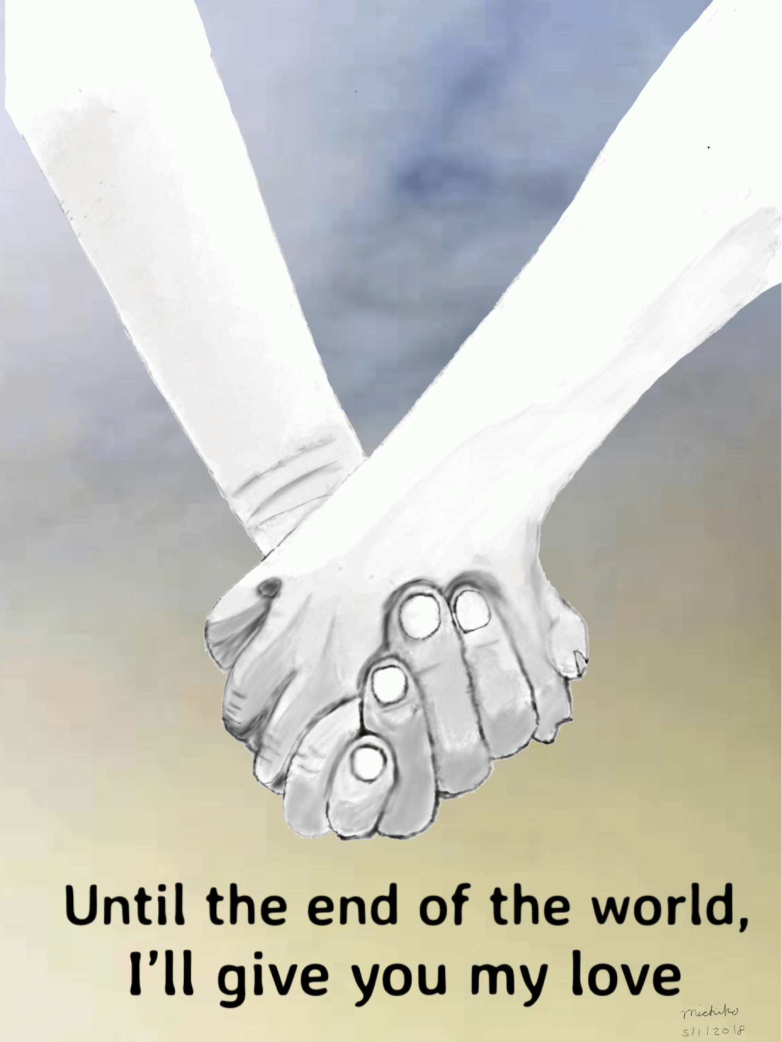 Sketch of holding hands